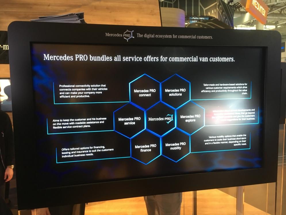 Mercedes-Benz presents Mercedes-Benz PRO, holistic business platform for LCV fleets based on connectivity that will be rolled out in 2017.
