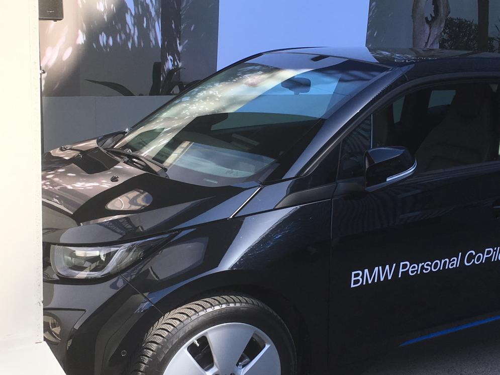 BMW showcasing its fully autonomous parking technology, that will work in 5G and can be activated via a smart watch connection.