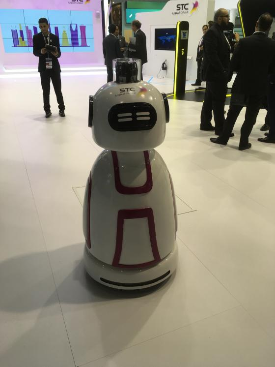 Not only human visitors at the World Mobile Congress. Here a robot at the booth of mobile operator SCT.