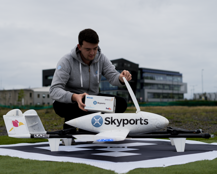 Image of Skyport's delivery drone for FedEx Express in Ireland