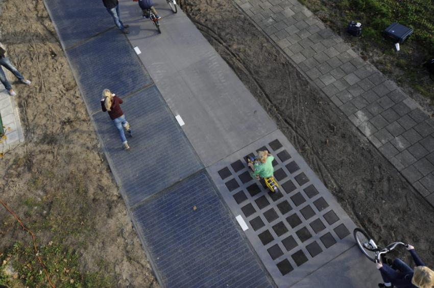 One of the SolaRoad test tracks in the Netherlands, here used as a cycling lane, the new one will carry heavy traffic.